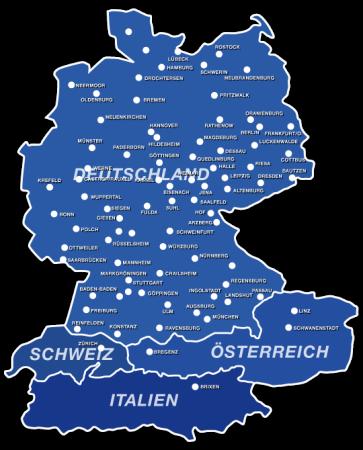 große Karte der Vertretungen